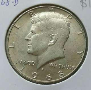 USA 1968-D Kennedy Half Dollar Unc Silver Coin With Luster