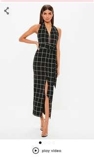 *MISSGUIDED* Black Plunge Tie Waist Midi Dress