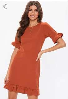 *MISSGUIDED* Rust Frill Detail Short Sleeve Shift Dress