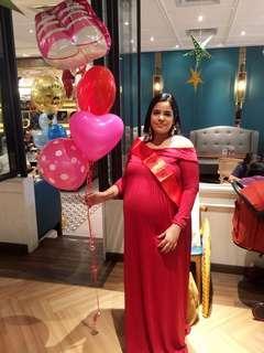 Off shoulder red maternity dress