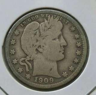 USA 1909 Barber Quarter Dollar Silver Coin With Nice Details