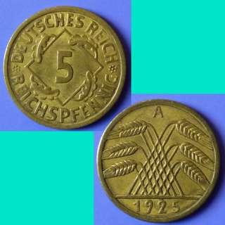 Coin Germany Weimar 5 RentenPfennig 1925 A km 39