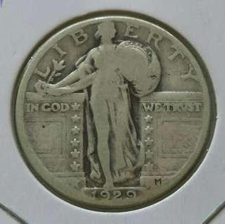 USA 1929 Standing Liberty Quarter Dollar Silver Coin