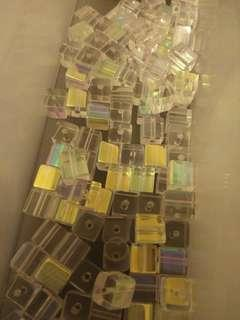 Clear iridescent square beads