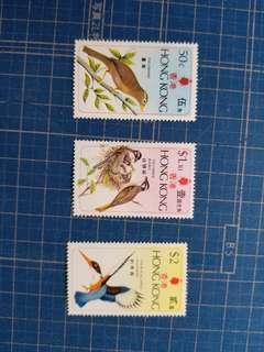 1975香港鳥類3全新票,書價100元