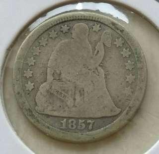 USA 1857 Seated Liberty Dime Silver Coin
