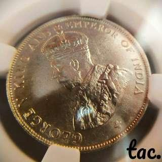 tac. 🔱Straits Settlements 1921 50Cents (NGC MS 62)