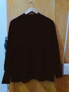 Black Longsleeve Top (with zipper at the back) (GOOD AS NEW)