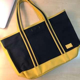 Porter Canvas Tote Bag Navy/Yellow