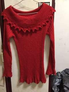 🚚 紅色針織毛衣