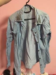 Denim Jacket with Studded Collar