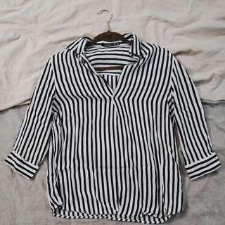 Bershka Stripped Shirt Low Cut Size XS