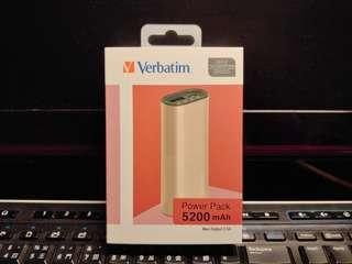 (全新) Verbatim Power Pack 5200mAh (粉紅色)