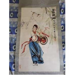 少女鼓舞 古画一幅 珍稀品 收藏多年