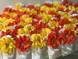 Doorgift bags ( satin + fabric flowers )