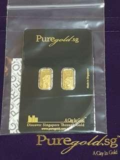 Puregold.sg SG Merlion Red Dot & SG Merlion MAP 999.9 2x 1g Pure Gold Bar