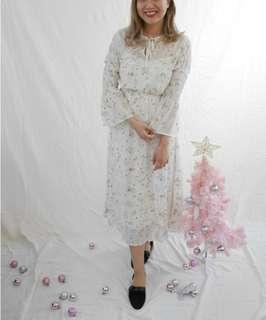 包順豐 日本 snidel 星空 星座 主題 喇叭袖修身連身裙