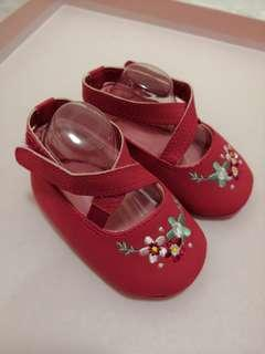 紅色繡花bb鞋