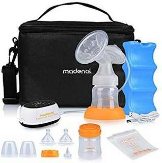 MADENAL Single Electric Breast Pump Travel Set, Ice Pack, Breastmilk Storage Bags, Super Quiet, Effective and Comfortable with On The Go Cooler Bag