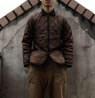 🚚 Lavenham棕色燈芯絨領格紋鋪棉外套made in England