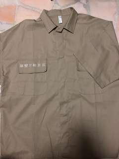 Oversized kaki short sleeve shirt