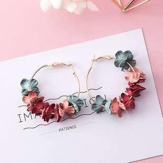 <free pos 3 pairs & above> Korean design floral colourful petal earrings
