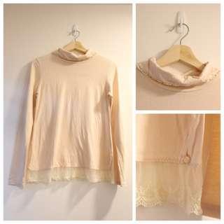 *$70即買*日本 franche lippee 可愛蕾絲蝴蝶結長袖樽領上衣 日本製