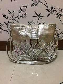 Tas kulit croco blink2 import silver/gold