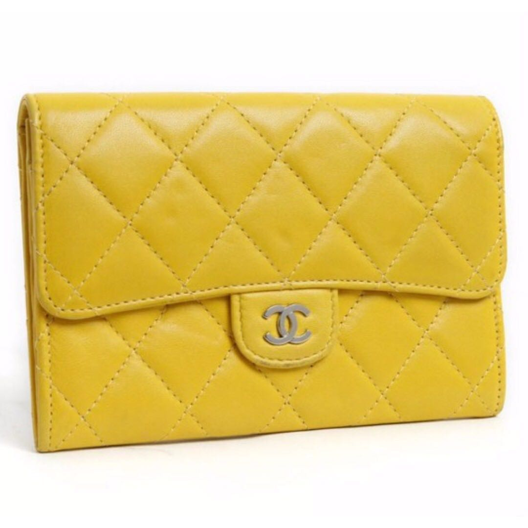 67fedacbe6295 Authentic  1760 Chanel Matelasse Wallet Lamb Skin CC Logo Yellow ...