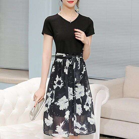 ea9ba3b4a167 Black Floral Dress korean slim waist bodycon long Office wear Work ...
