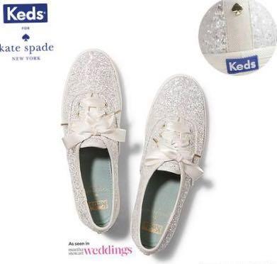 719636671043 BN kate Spade x Keds White Glamorous Glitter Wedding Shoe Sneaker ...