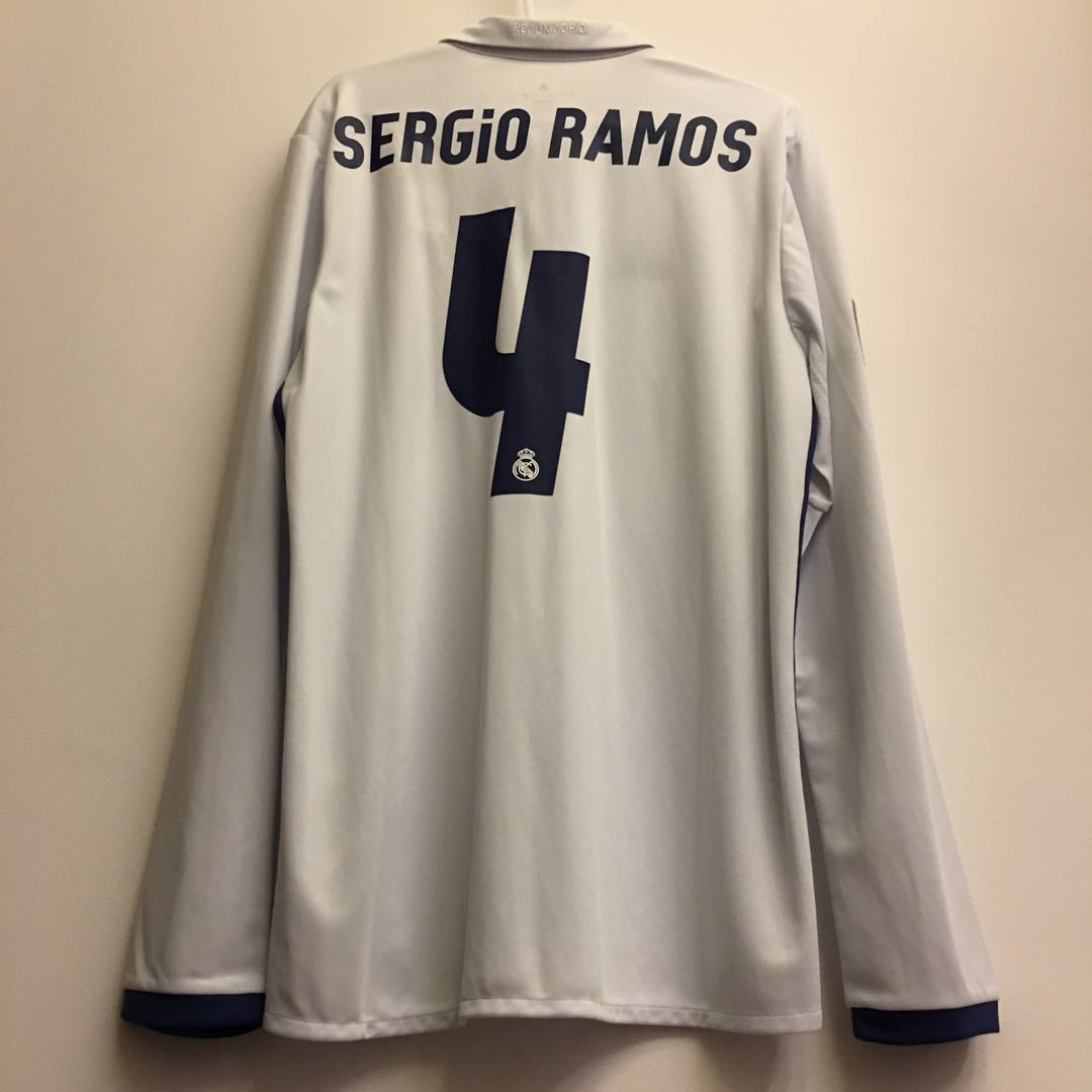 50708afb377 BNWT  Real Madrid 2016 17 Home Long Sleeve Jersey with  Sergio Ramos ...