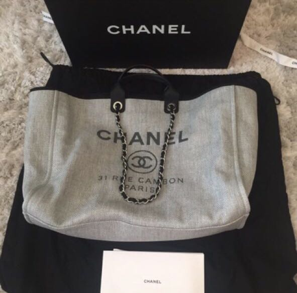768d37cc9694 Chanel Deauville Canvas Tote (Grey) in XL, Women's Fashion, Bags ...