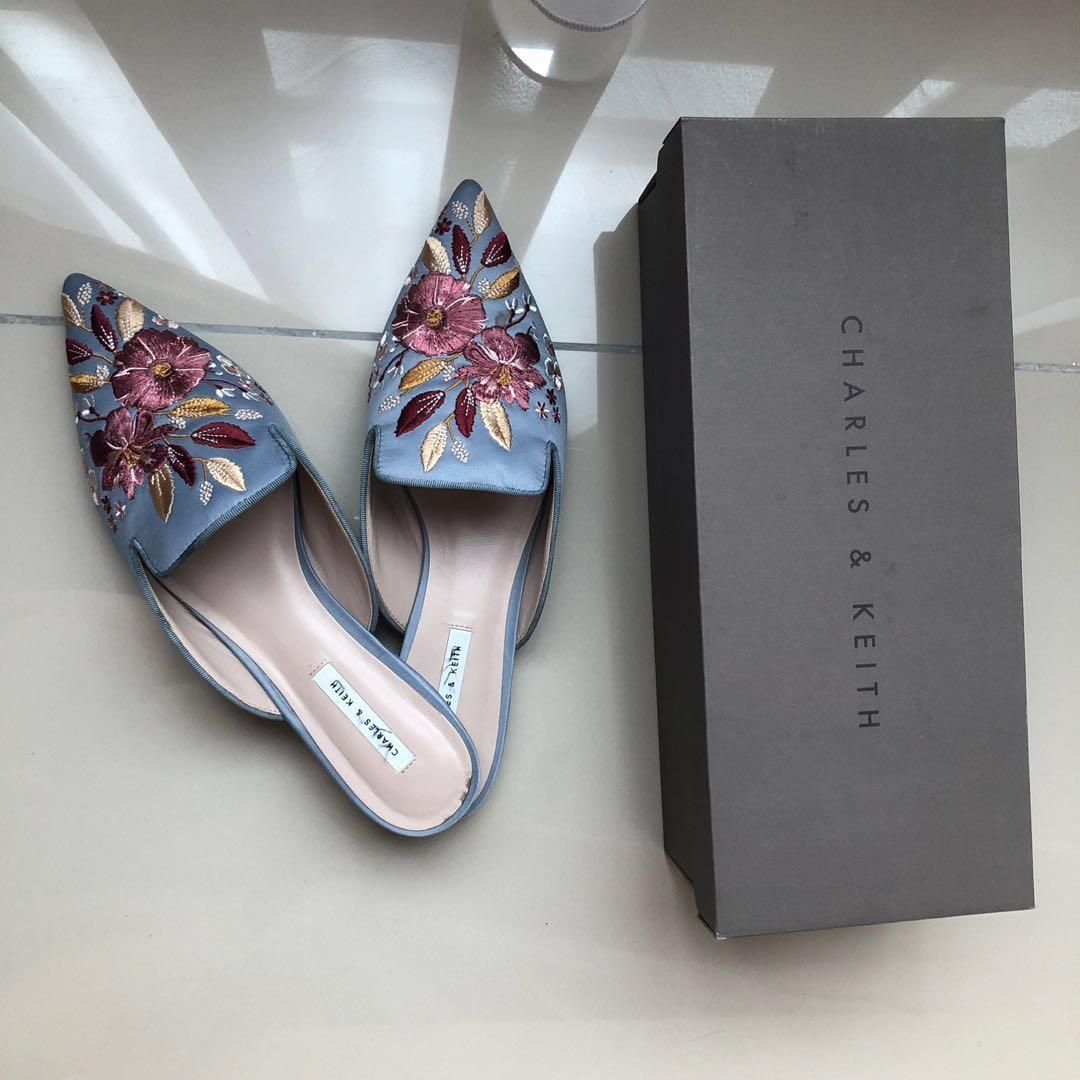 Keith baby blue embroidery mules