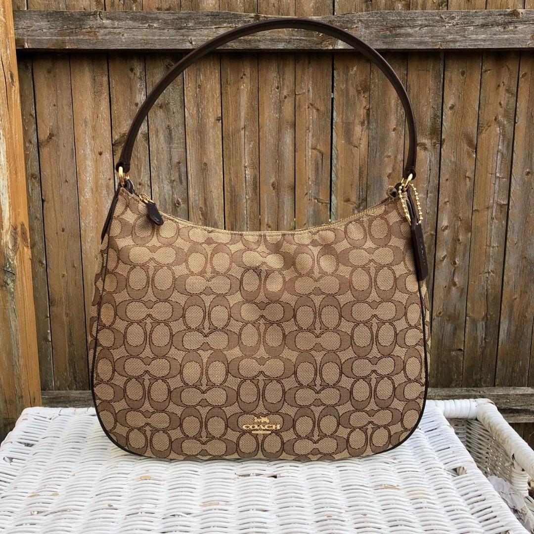 28c1246fdf58 Coach OTL Signature Zip Shoulder Bag in Khaki Brown