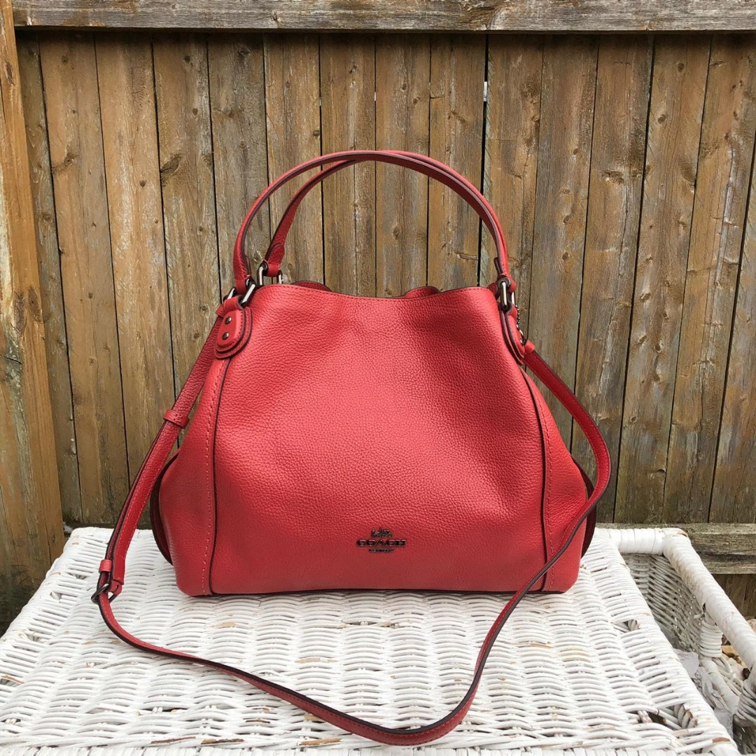 8aeaa61243cd Coach Pebbled Leather Edie 28 in Washed Red