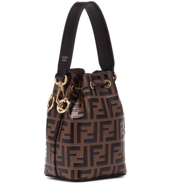 989fc386c328 Fendi Mon Tresor Mini Leather Bucket Bag