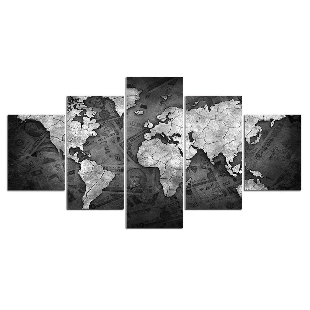 Framed Print Black And White World Map