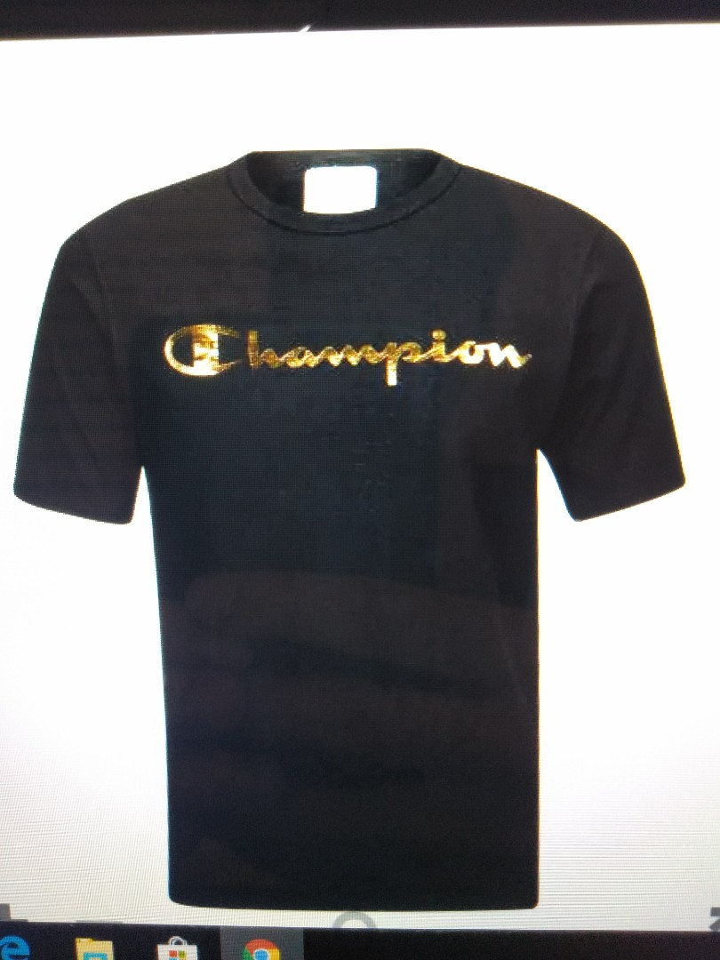 b9ad23d7 GOLD BLACK/WHITE CHAMPION TSHIRT, Men's Fashion, Clothes, Tops on ...