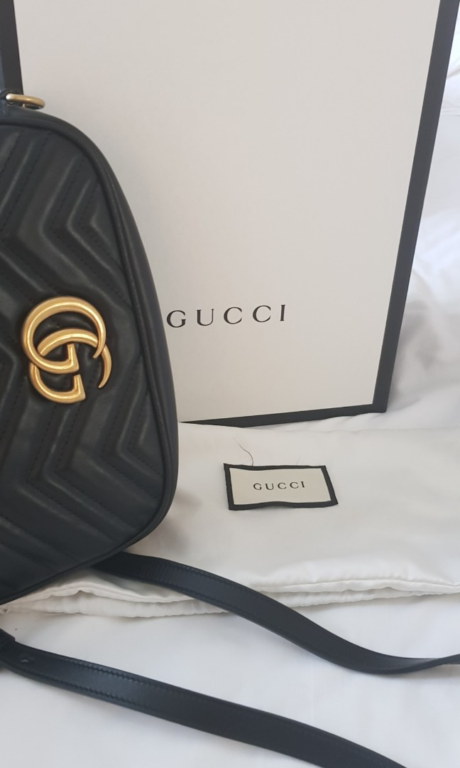 ffe26323bba4 Gucci Marmont Matelasse camera bag, Luxury, Bags & Wallets, Sling Bags on  Carousell