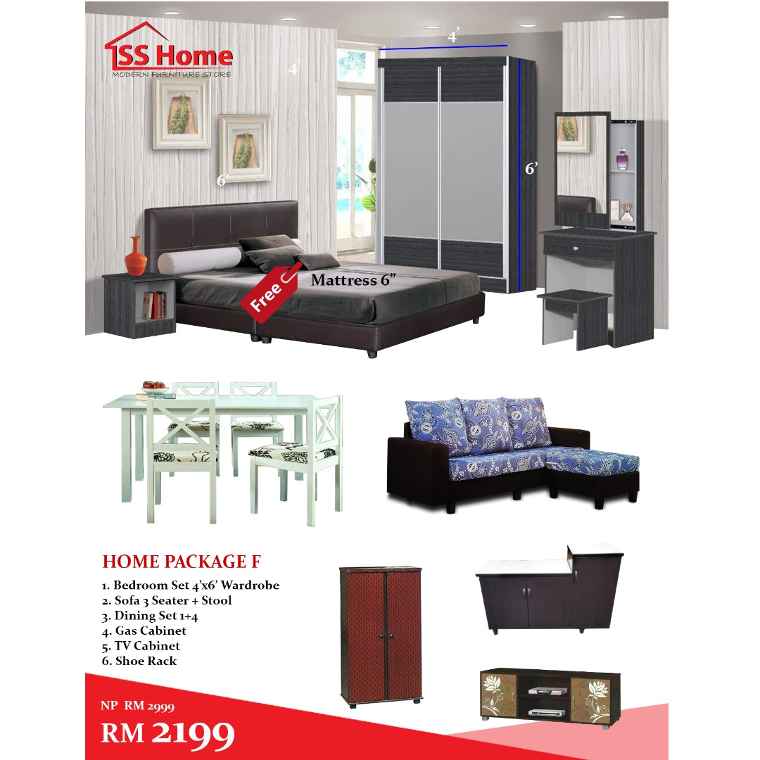 Home Package Bedroom Set Sofa Dining Set Gas Cabinet Tv