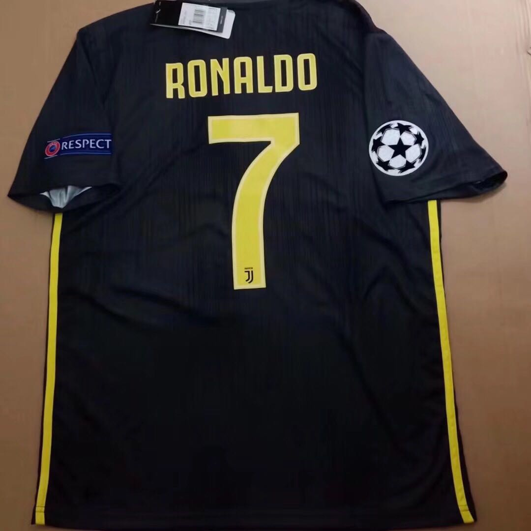 fecdb7d720f Juventus Third Kit Second Away Black Jersey Ronaldo 2018 2019 ...