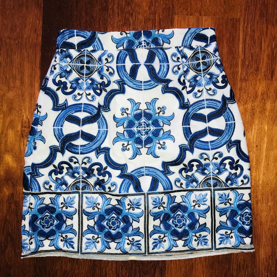 KOOKAI Donatella Blue Embroidered Skirt - Size 36/AU 8