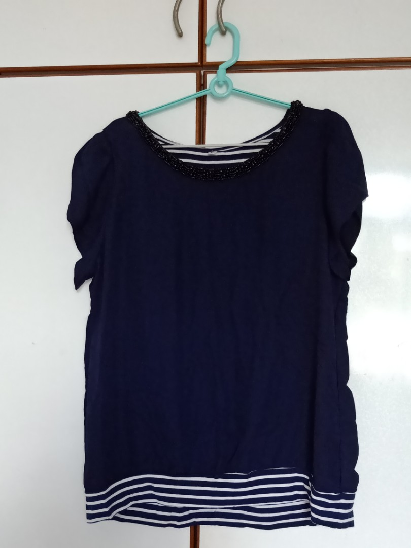 8667b08d804 PLUS SIZE  Navy Blue Blouse with bead details