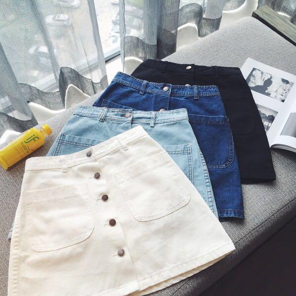 65f3d0d924 PO Denim Button Down Skirt Korean Ulzzang Women, Women's Fashion ...