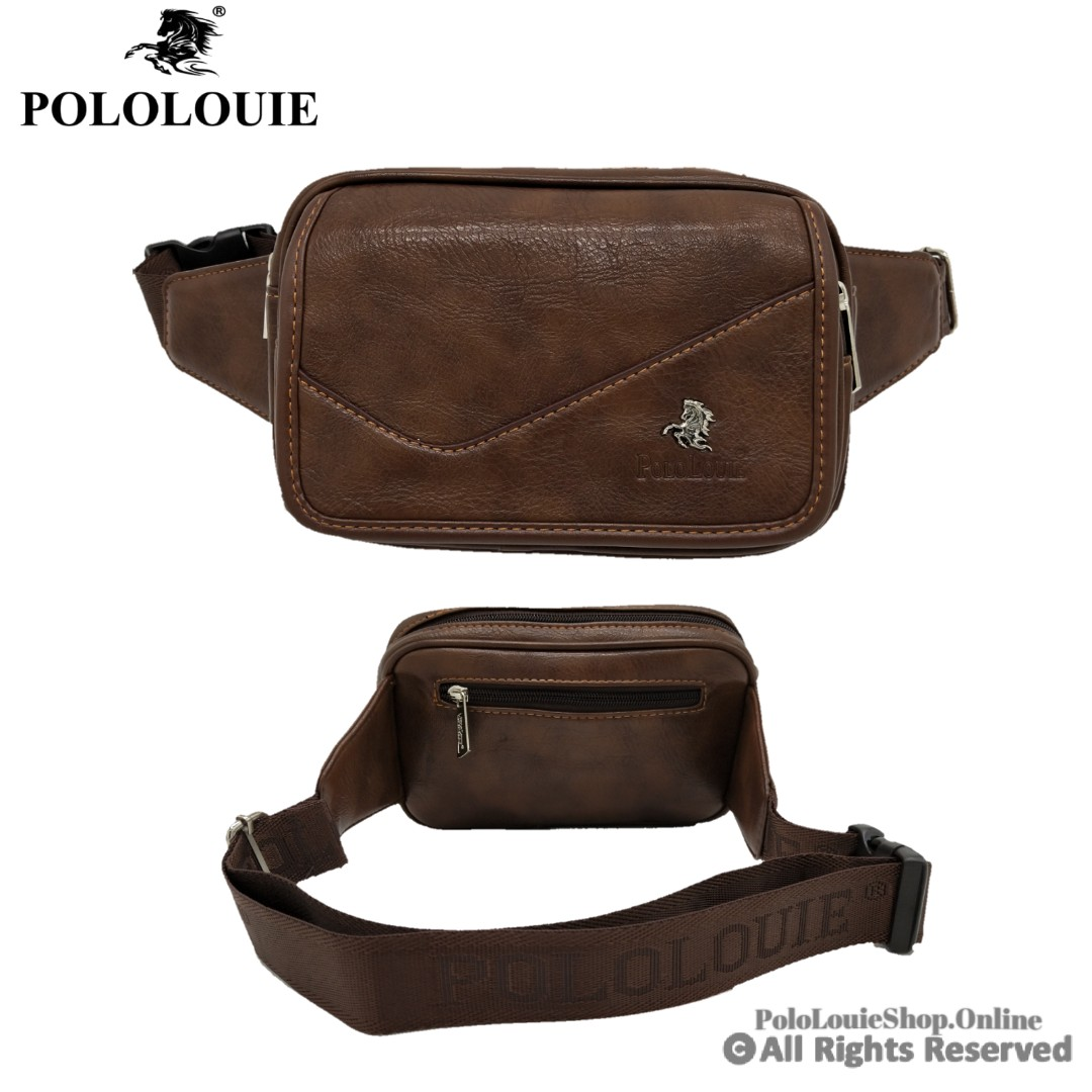f1707a084dd1 POLO LOUIE Men Waist Bag Genuine Leather Sling Chest Pouch Beg ...