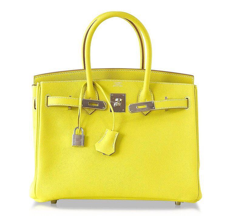 29d0213180f Preloved Hermes Birkin 30 Candy Lime with Gris Perle Epsom Phw O ...