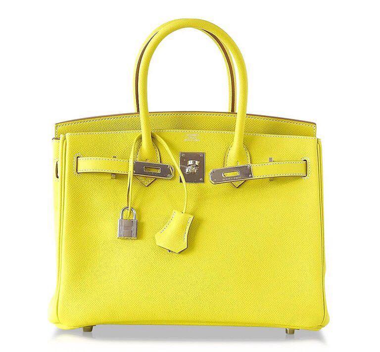 1e43653e7e Preloved Hermes Birkin 30 Candy Lime with Gris Perle Epsom Phw O ...