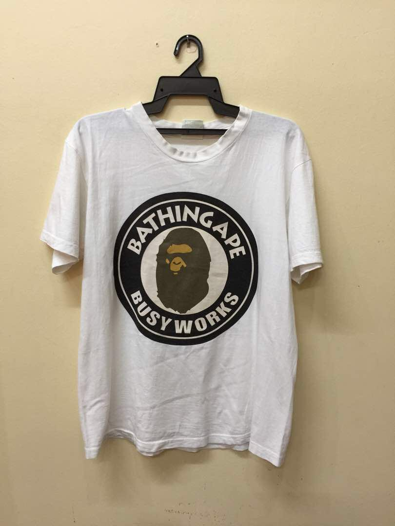 097ccde6 Rare Vintage Bathing Ape Bape T shirt Busy Works, Men's Fashion ...