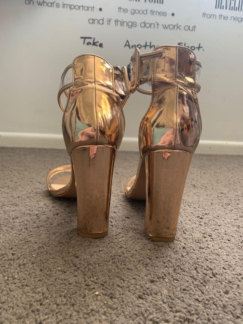 Reflective Rose gold high heels